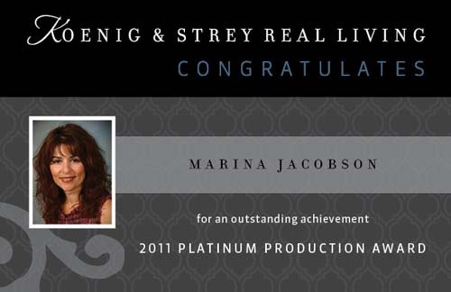 Marina Jacobson 2011 Platinum Award