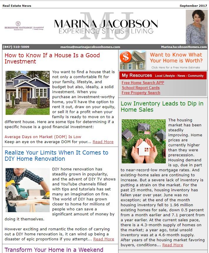 September 2017 Real Estate News